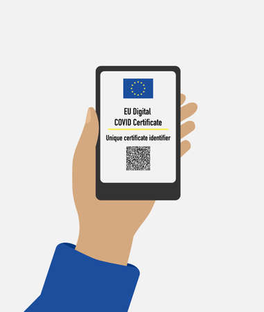Hand holds mobile phone with immune digital health passport for covid-19. Vector illustration EU digital covid certificate,unique certificate identifier.