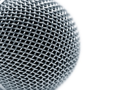 Steel grate of microphone isolated on white photo