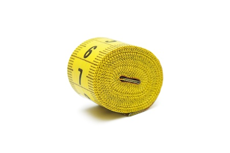 Roll of tape measure isolated on white photo