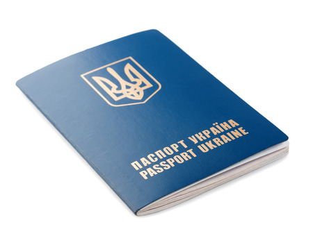 foreign nation: Passport Ukraine isolated on white