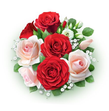 Large beautiful bouquet of red and cream roses. Hand-drawn picture for greeting cards and invitations.