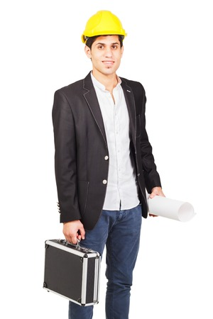 diplomat: Young worker in a construction helmet with an architectural drawing and diplomat on the white background Stock Photo