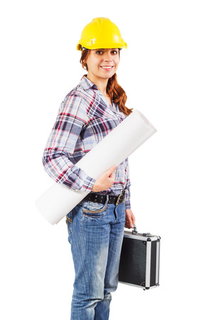 diplomat: Portrait of young girl worker in a construction helmet with a blueprint and diplomat on the white background