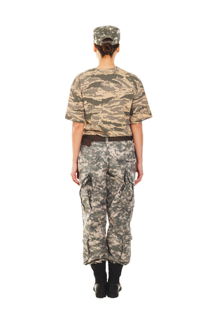 t short: Young girl-soldier in the camouflage military uniform and hat, view from the back Stock Photo