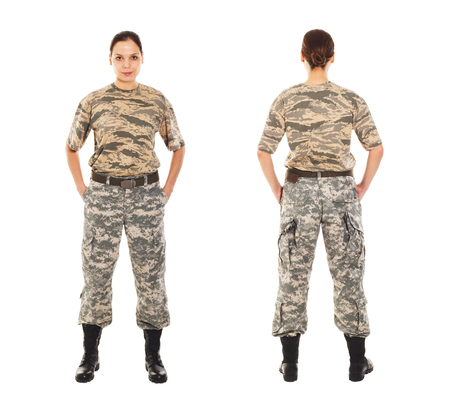 t short: Girl-soldier in the camouflage military uniform and hat, view from the front and the back sides
