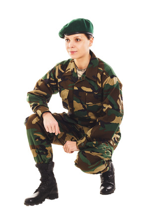 corporal: Soldier in the camouflage military uniform and beret