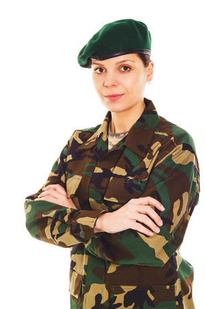 green beret: Portrait of soldier in the camouflage military uniform and beret Stock Photo