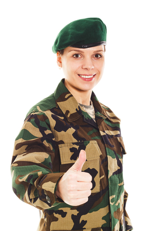 green beret: Portrait of soldier girl in the camouflage military uniform and beret, isolated Stock Photo