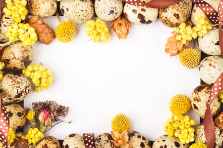dried flowers: Frame from quail eggs and dried flowers decorations, wooden background Stock Photo