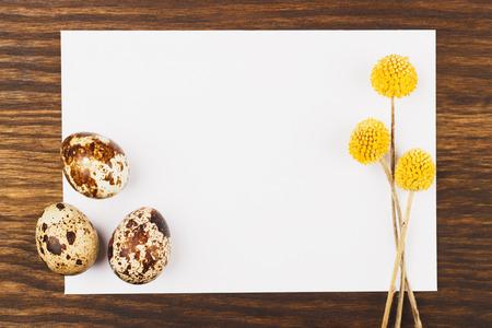 flores secas: Tarjeta con los huevos de codorniz y flores secas, fondo de madera Foto de archivo