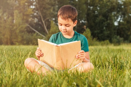 Young boy sitting on the green grass and holds a book, soft focus background