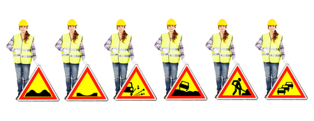 Girl worker in a construction helmet and yellow vest stands near different road signs of temporary dangers or roadworks conditions, isolated