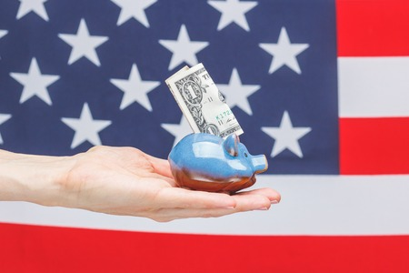 Hand with American dollar and piggy bank, on the national flag background
