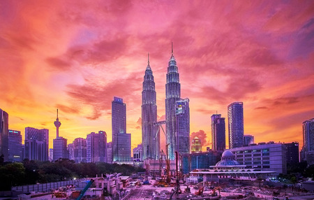 MALAYSIA  February 20 2015  Kuala Lumpur City Centre KLCC sunset view in Malaysia Editorial