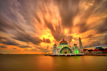 straits: MALACCA May 2 2015 The Malacca Straits Mosque sunset view on May 2 2015 in Malacca.