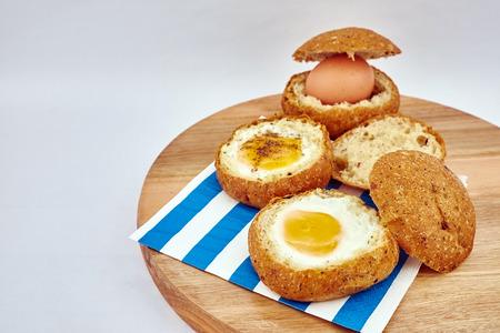 boiled: half boiled egg Stock Photo