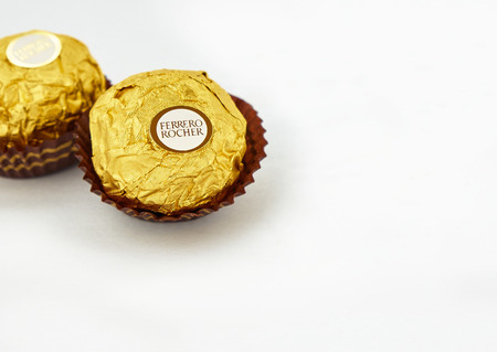 KUALA LUMPUR MALAYSIA  JUNE 4 2015. Introduced in 1982 Ferrero Rocher is a chocolate brand made by Italian manufacturer Ferrero SpA. Ferrero SpA is the biggest chocolate producer in the world.