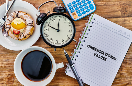 Organizational Values - The modern concept of time management to reach the goal of increasing productivity. Stock Photo