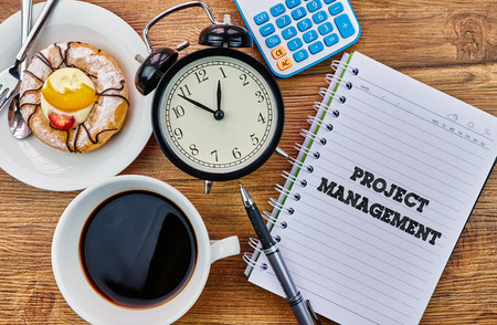international crisis: Project Management - The modern concept of time management to reach the goal of increasing productivity. Stock Photo