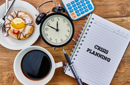 mangement: Crisis Planning - The modern concept of time management to reach the goal of increasing productivity. Stock Photo