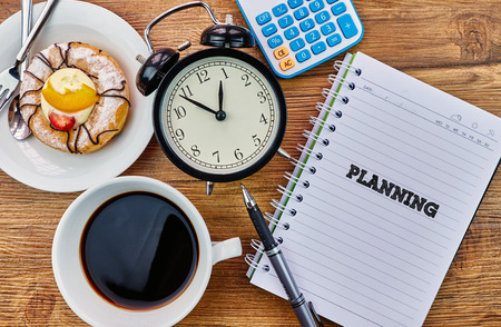 mangement: Planning - The modern concept of time management to reach the goal of increasing productivity. Archivio Fotografico