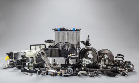 car parts on a gray background Foto de archivo