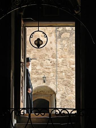 rabbi: Rabbi wearing black robe in Jerusalem Stock Photo