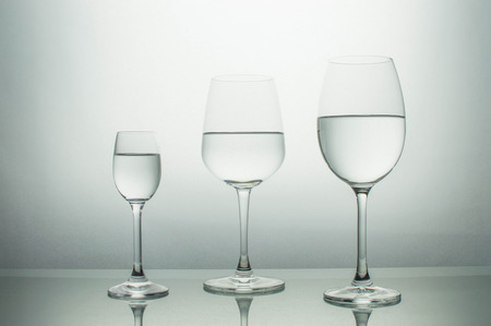 types of glasses: Different types of glasses isolated on a white background Stock Photo