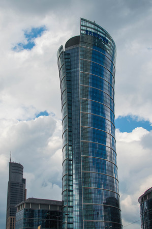 samsung: Warsaw Spire building. Headquarters of Samsung Poland.