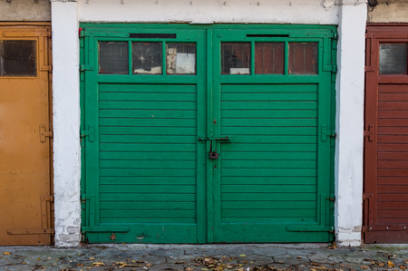 Old Wooden Garage Door Color Stock Photo Picture And Royalty Free