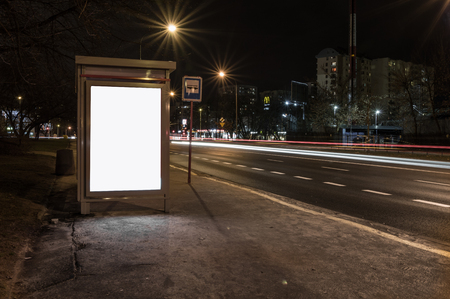Street Advertisement Urban Transport Isolated White Mockup Space Billboard Stok Fotoğraf