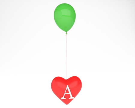 heart with letter and ballon