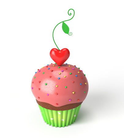 3d cupcake with red heart leaf