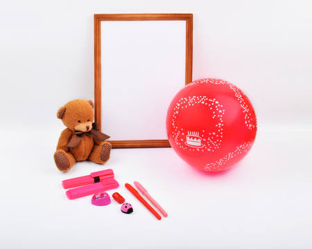 Mock up objects isolated on the topic - Valentines Day, top view