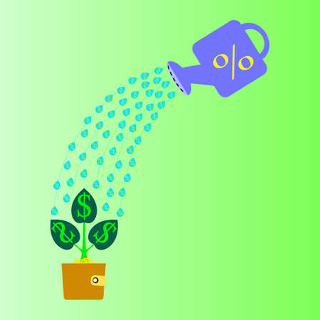 percentages: Money plant is watered from a watering can with water droplets containing percentages.