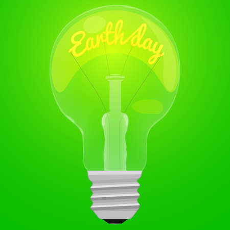 Earth day glower text inside the light bulb on green background.