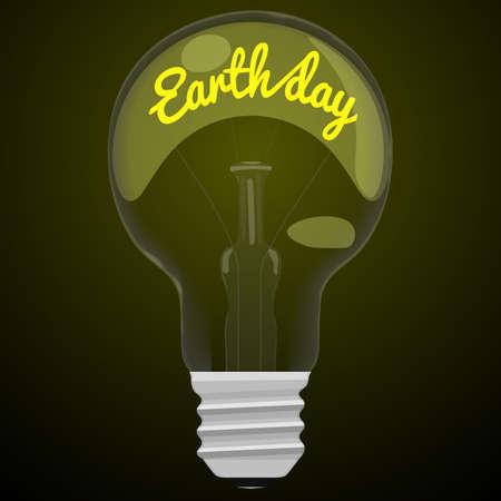 glower: Earth day glower text inside the light bulb on dark black background. Illustration