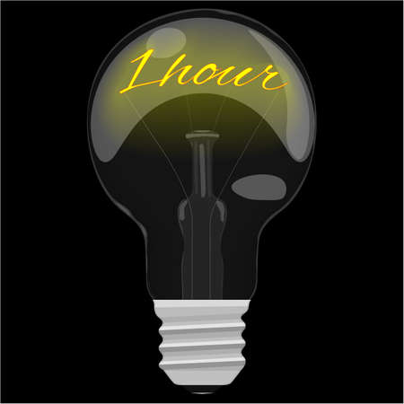 glower: Earth day 1 hour glower text inside the light bulb on dark black background. Vector illustration. Illustration