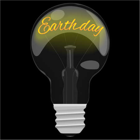 glower: Earth day glower text inside the light bulb on dark black background. Illustration