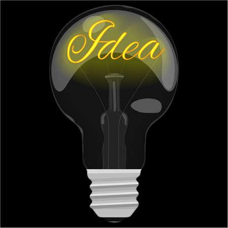 a solution tube: Idea glower text inside the light bulb on dark black background. Illustration