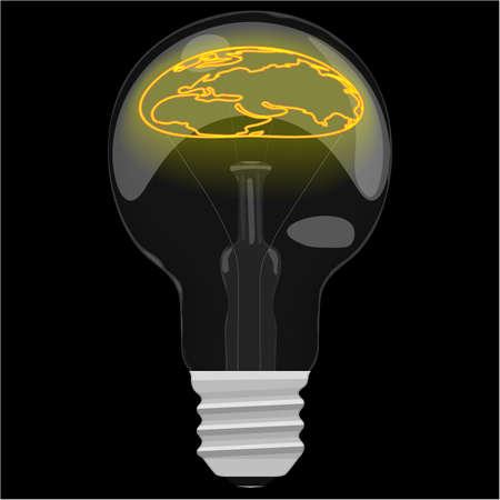 glower: Earth day glower map inside the light bulb on dark black background.
