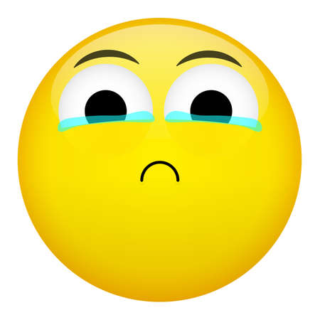 brow: Frustration, confusion and crying emotion. Bad emoticon vector illustration.