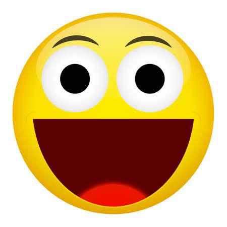 broad: Broad smile laugh emotion. Emoji vector illustration.
