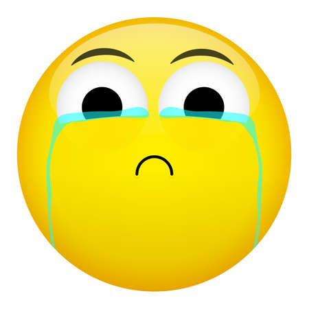 Frustration, confusion and crying emotion. Bad emoticon vector illustration.