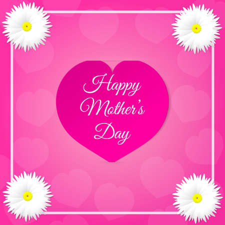 notch: Pink paper heart with congratulations Happy Mothers DAY inserted in the notch of the paper sheet  with flowers and white frame. Vector illustration background. Illustration