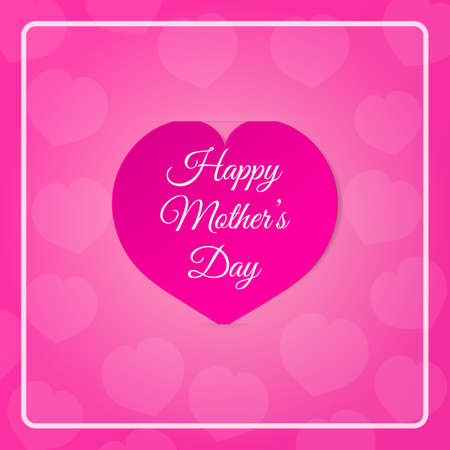 notch: Pink paper heart with congratulations Happy Mothers DAY inserted in the notch of the paper sheet  with flowers. Vector illustration background.