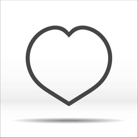 coeur: Grey heart contour. White black vector illustration and icon. Illustration
