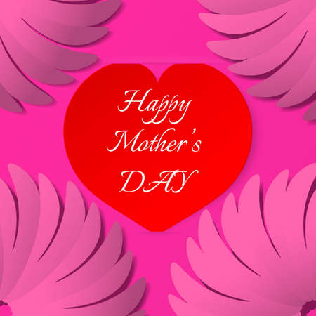 ticker: Red paper heart with congratulations Happy Mothers DAY inserted in the notch of the paper sheet. Vector illustration background. Illustration