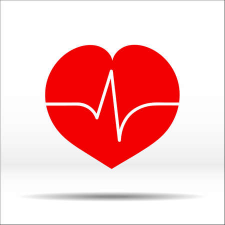 throb: Red heart with pulse cardiogram on it. Color vector illustration and icon.