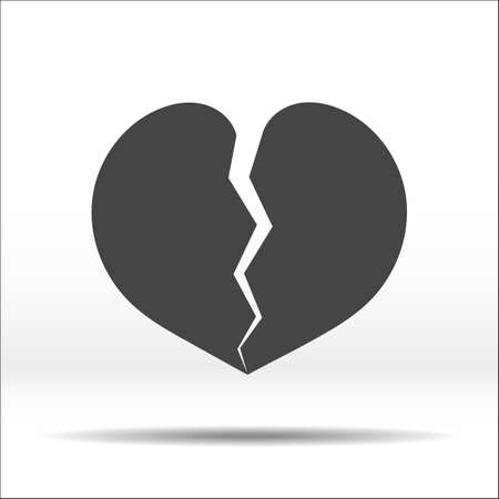 Broken into two halves grey heart. White-black vector illustration and icon.